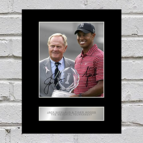 Jack Nicklaus und Tiger Woods Signiert Foto Display