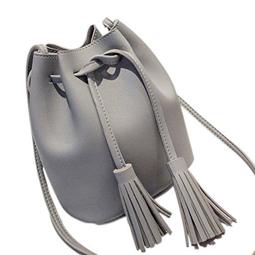 Frauen Schultertaschen Mini Eimer Tasche Cute Feminine & Von Crossbody Kleine Taschen PU Leder Grey