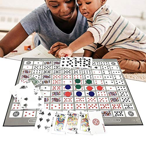 Huaqiang Deluxe Sequence Tin (dreisprachig) Familienversion Table Game, Big Chess Board Game Englisch und Arabisch Sequence Game Schach Family Game Toy (Arabisch-board)