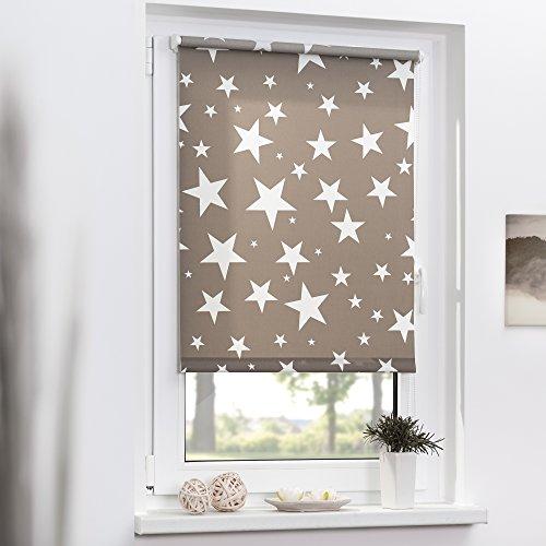 Lichtblick KRT-045-180-101 Rollo Klemmfix ohne Bohren blickdicht Sterne Grau-Weiß - 2