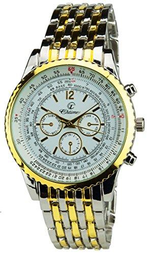Geschenkset Herren Armbanduhr Silber Gold- Schweizer Taschenmesser Taschenlampe - Brieftasche -Stift