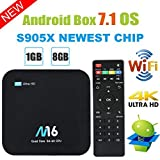 TV Box Android 7.1 – Viden Smart TV Box Amlogic S905 x Quad-Core, RAM 1 Go & 8 Go ROM, vidéo 4 K uHD H.265, 2 Ports USB, HDMI, WiFi Web TV Box + Télécommande [Nouvelle Version]