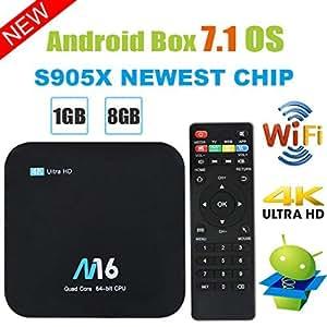 TV Box Android 7.1 - Viden Smart TV Box Amlogic S905X Quad-Core, 1Gb Ram & 8Gb Rom, Video 4K Uhd H.265, 2 Porte USB, Hdmi, Wifi Web TV Box + Telecomando [Nuova Versione]