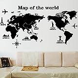 Sticker décoratif mural, carte du monde, grand format
