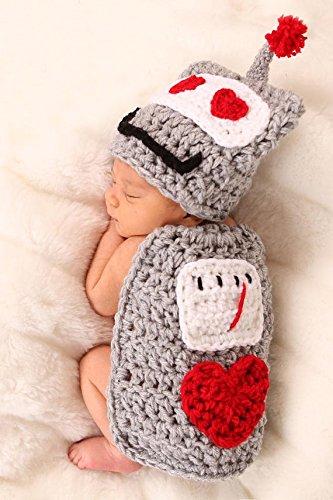 Cute Baby Newborn Infant handgefertigt Crochet Beanie Hat Teletubbies Stil Baby Kleidung fotografiert Zubehör, Cartoon Fashion Kinder Fotografie Requisiten Foto Requisiten Kostüm Kleidung tragen (geeignet für Babys 0–46Monate zu tragen)