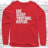 Eat Sleep Youtube Repeat Long Sleeve T-Shirt Funny Youtuber Childrens Kids
