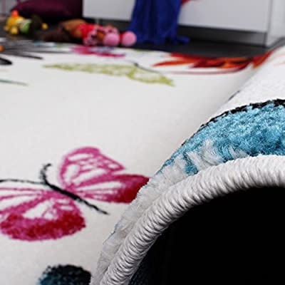 Kids' Rug - Butterfly - Multicoloured Cream - inexpensive UK rug shop.