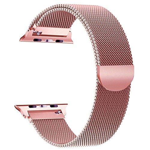 Geeignet für Apple Watch 38mm Armband, BIFY Armband, Edelstahl Smart Armband, Einzigartige magnetische Schnalle, Keine Schnalle, geeignet für Apple Watch Armband Serie 3/2/1 Armband (pink)