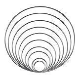 vientiane Metallringe Metall Hoops, 10 Stück Geschweißte Traumfänger Metallringe, Handwerk Basteln Drahtring für DIY Handwerk Dekor (10 Größen Silbern)