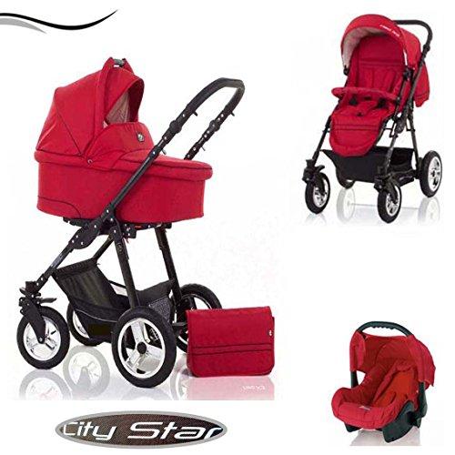 """16 teiliges Qualitäts-Kinderwagenset 3 in 1\""""CITY STAR\"""" in 41 Farben: Kinderwagen + Buggy + Autokindersitz + Schwenkräder - Mega-Ausstattung - all inclusive Paket in Farbe CS-12 (MAGMAROT)"""