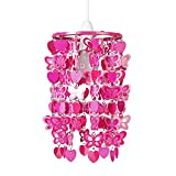 MiniSun – Rosa und hängender Lampenschirm mit Herzen und Schmetterlingen für Kinder – für Hänge- und Pendelleuchte