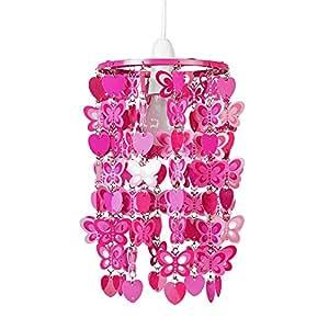 Girls Pink Hearts and Butterflies Ceiling Pendant Light Shade