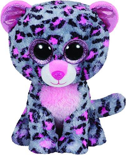 TY 37038 - Tasha Buddy - Leopard mit Glitzeraugen, Plüschtier, groß, 24 cm, pink/grau