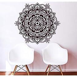 Vinilo de pared, diseño de Mandala Indio, Patrón Yoga OUM Símbolo del Om, vinilo adhesivo, decoración para hogar, arte mural, dormitorio, estudio, ventana MN340