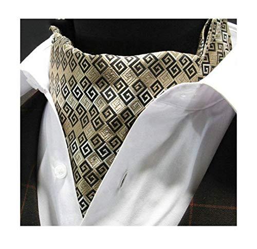 Yuany Herren Gold geometrische Jacquard gewebt 100% Seide Self Cravat Krawatte Ascot -