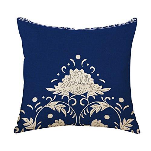 Outflower federa classico in porcellana blu e bianca di stile cinese custodia di cuscino stampati/camera/soggiorno/ufficio/auto/divano 45* 45cm (g)