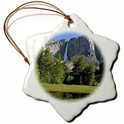 Sandy Mertens Yosemite Falls From Valley Snowflake Porcelain Ornament, 3-Inch
