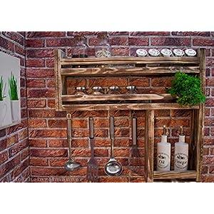 Gewürzregal aus Holz mit viel Platz - hergestellt aus recyceltem Altholz - Upcycling Regal -