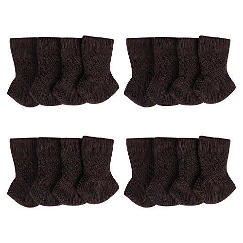 Anti-Rutsch Stuhlbeinsocke Super PDR Möbel Socken Wollsocken Hocker Fessel Tabellen Cotton Caps Fußboden Schutz Stuhl Bein Floor Protector (Braun, 16 Stück)