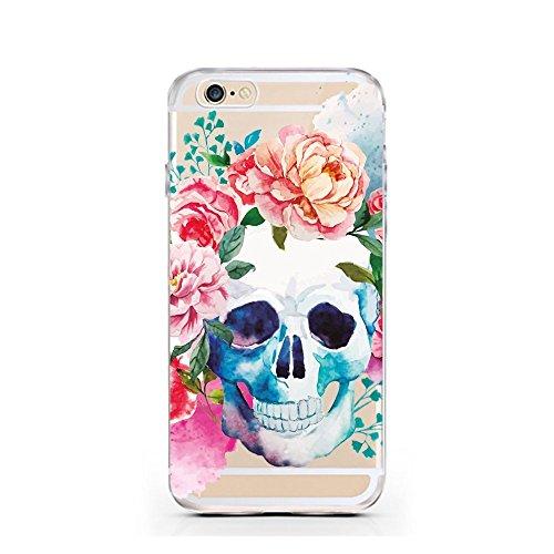 "licaso® iPhone 5 5SE 4"" TPU Hülle Sketch Case transparent klare Schutzhülle Affe Dreieck Schimpanse Disney Hülle iphone5 Tasche Cover (iPhone 5 5S SE, Affe Dreieck) Skull Aquarell"