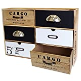 Wohaga Vintage Schränkchen mit 6 Schubfächern 44,5x30x12cm Schubladenelement Holzschrank kleine Kommode Schrank Schubladenbox
