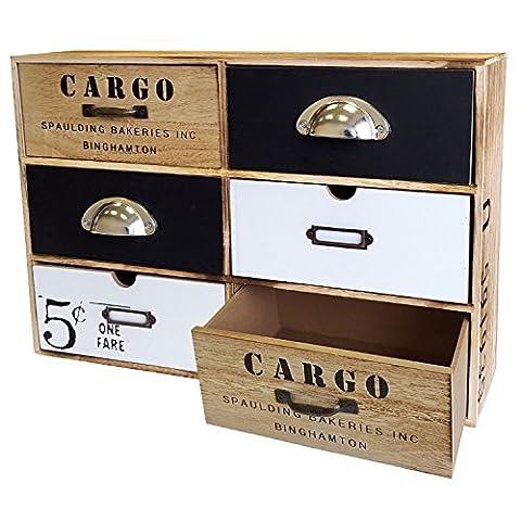 Vintage Schränkchen mit 6 Schubfächern 44,5x30x12cm Schubladenelement Holzschrank kleine Kommode Schrank Schubladenbox