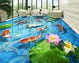 Yosot Gepflasterten Lotusblatt Lotus Karpfen Teppiche 3D-Bodenfliesen Tapete Für Wände 3D Foto Wand -250Cmx175Cm