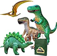 Jet Creations 4-pk Inflatable Dinosaurs Combo, T-rex Pteranodon, Stegosaurus, Raptor. Great for Pool, Party De