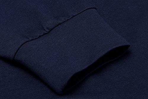 ZEARO Damen Basic Langarmshirt T-shirt Herbst Bluse Solid Oberteil mit V-neck Pullover Casual Dunkelblau
