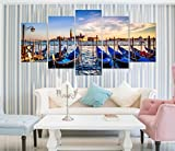 PPD Multiple frames Boats And Sea wall art panels for living room painting - 5 Frames (10 INCH X 20 INCH)