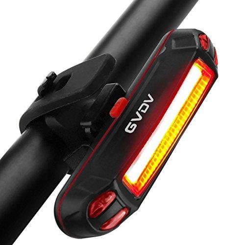 Luce Posteriore Bicicletta, GVDV LED luce Impermeabile per Bici, 100 lumen SUPER LUMINOSO USB Ricaricabile 6 modalità luce Adatto per TUTTE le Biciclette e Caschi per Ottimale Ciclismo Sicurezza
