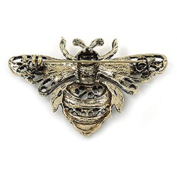Avalaya Vintage Inspired Crystal Bumble Bee Brooch In Aged Gold Tone - 60mm 4