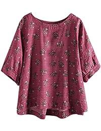 DEELIN Despeje Blusa Mujer Casual Tallas Grandes De AlgodóN Y Lino Tops Camiseta tee Vintage Boho Floral Blusa Suelta