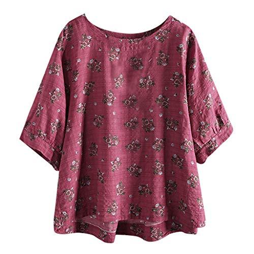 JURTEE Damen Bluse, Große Größen Baumwolle Tops T-Shirt Vintage Boho Floral Lose Oberteile Sommer Bluse(XXXX-Large,Rosa) - Vintage St Patricks Tag T-shirts