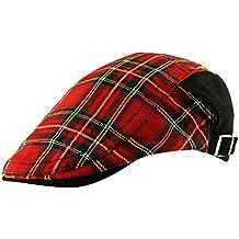 Para hombre de tartán escocés Flat Cap sombrero ajustable talla única país  Golf de cuadros escoceses 55fbb28f56f