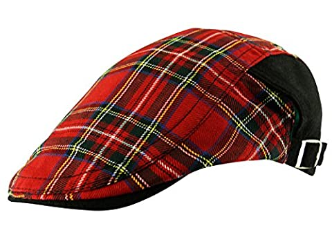 Mens Scottish Tartan Flat Cap Hat Adjustable One Size Country Golf Plaid Check in Red