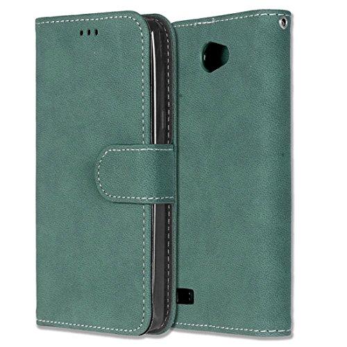 Chreey LG Bello II/Bello 2 Hülle, Matt Leder Tasche Retro Handyhülle Magnet Flip Case mit Kartenfach Geldbörse Schutzhülle Etui [Grün]