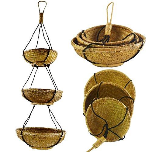 Preisvergleich Produktbild Rattan Hängekorb, Bambus Hängeregal, Boho Unikat, Hänge-Etagere Regal Dekorative Korbhänger