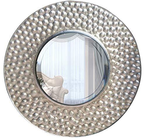 Dipamkar - Espejo de Pared con Forma de Disco de Plata con Efecto de explosión Solar, Acabado de lámina Plateada, Espejo Circular con Marco de Metal Decorativo (25 cm de diámetro)