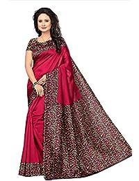 Fabwomen Sarees Floral Print Pink And Multi Coloured Kalamkari Art Silk Traditional Festive Wear Women's Saree...