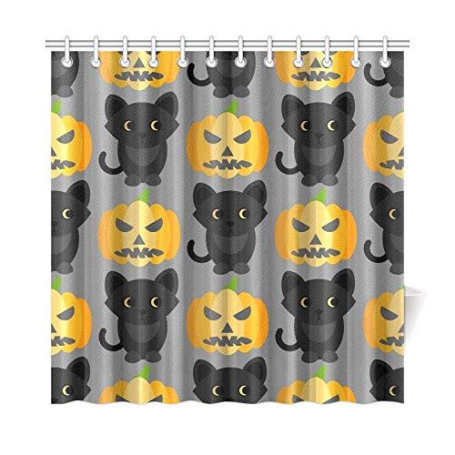 ad Vorhang Halloween Katzen Kürbisse Schöne Polyester Stoff Wasserdicht Duschvorhang Für Bad, 72X72 Zoll Duschvorhänge Haken Enthalten ()