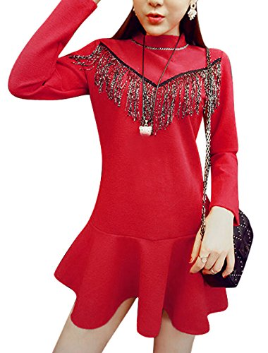 Damen Stand Der Kragen Quasten-Front Pullover Freizeit A-Linie Kleid Rot