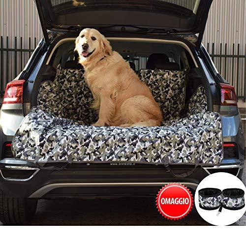 Coprisedile Auto Per Cani - Telo Auto Universale Antimacchia Antigraffio Per Sedile Posteriore Baule - Copri Sedile Auto Per Cani Con Ciotole da Viaggio