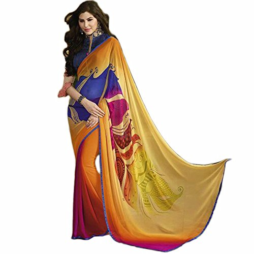 Utsav Designer New Magnetic Yellow Georgette Designer Sarees