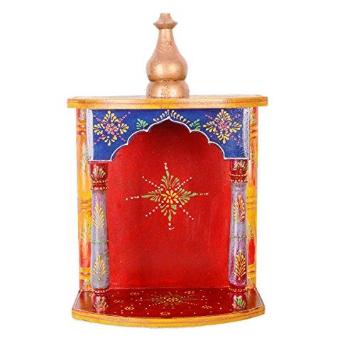 Purpledip Holz Tempel Räucherstäbchen Pooja Mandir für Tisch Top Oder Wände, Muss für Hindu Verehrung (11283)