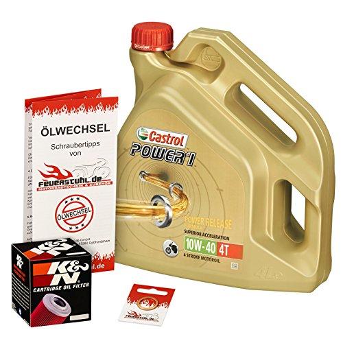 Preisvergleich Produktbild Ölwechselset Castrol Power1 10W-40 Öl + K&N Ölfilter für XJR 1300 / SP / Racer,  Bj. 99-15 (Typ RP02 RP06 RP10 RP19); Motoröl + Filter + Dichtring