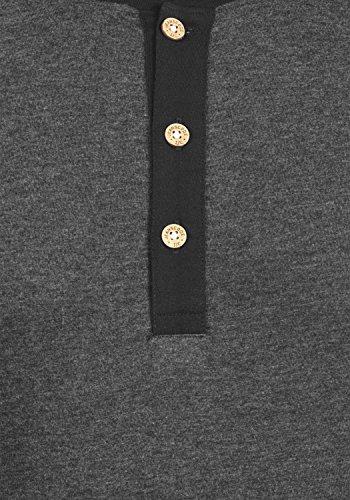 Indicode Winston Herren Longsleeve mit Grandad- Ausschnitt Aus Hochwertiger Baumwollmischung in Melange-Optik Charcoal