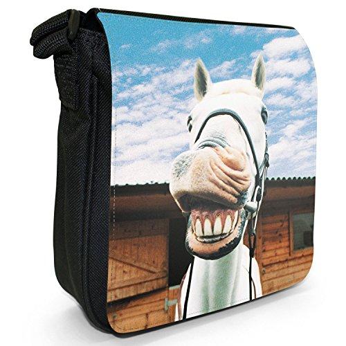 Superb Stunning Stallone Cavallo Bianco Piccolo Nero Tela Borsa a tracolla, taglia S Laughing White Horse