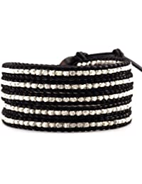 Luu Chan argent Sterling 5–Wrap-Bracelet Cuir Noir