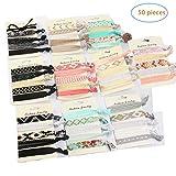 YiKiMira 50 Stück elastische Haargummi keine Falten elastische Band Pferdeschwanz Inhaber Haarbänder für Mädchen Frauen Teens und Kinder farbige Haarschmuck Geschenke für Mädchen, Geschenkideen für Kinder